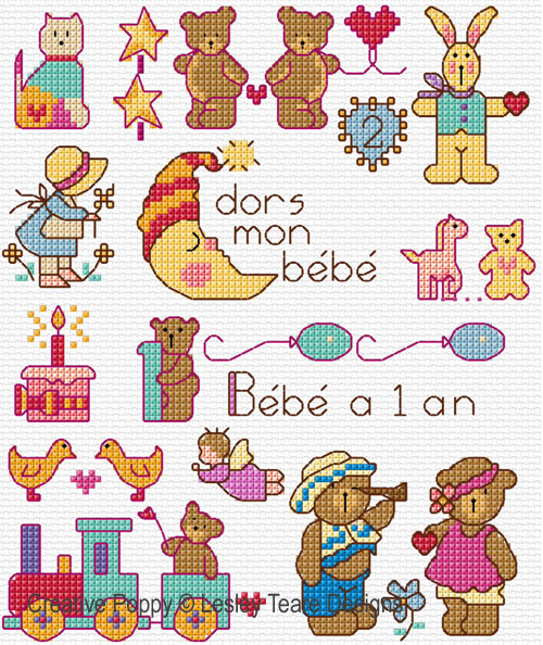 motifs points de croix bebe