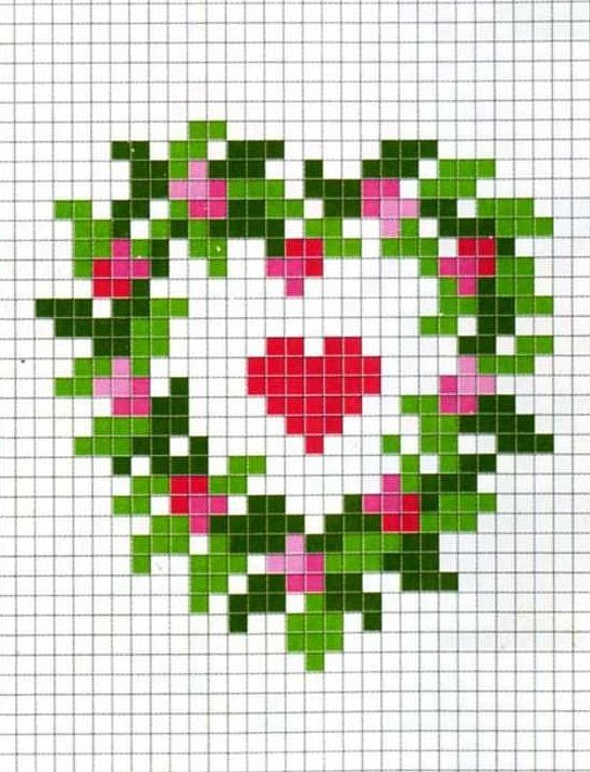 point de croix rose